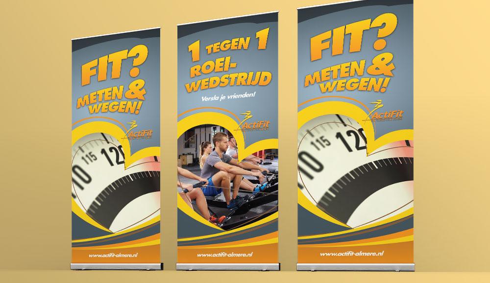 Roll-up banner drukwerk voor sportschool Actifit