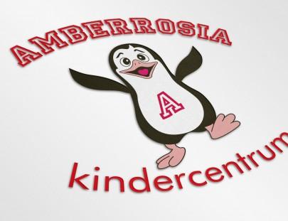 Logo ontwerp voor kindercentrum Amberrosia met Pinguin