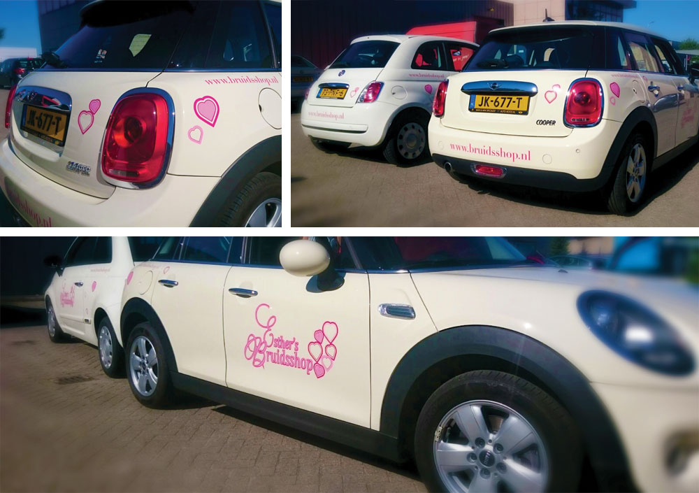Autobelettering Mini en Fiat Esthers Bruidsshop