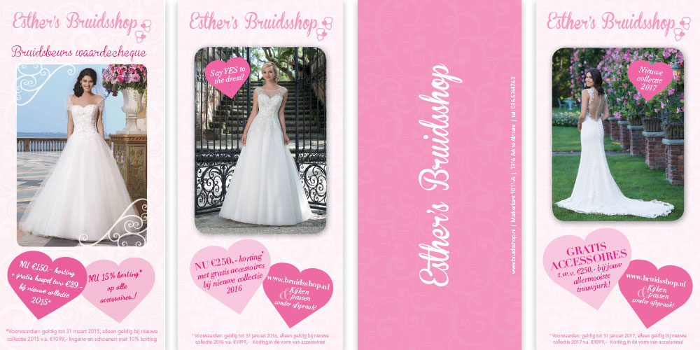 Verscheidene flyers voor Esthers Bruidsshop