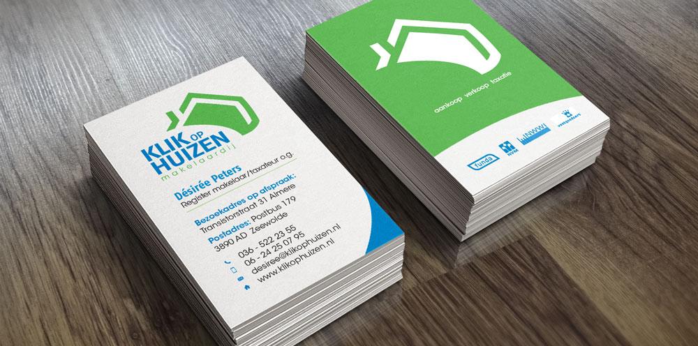 Visitekaartje met het nieuwste logo en een nieuwe look voor Klik op Huizen Makelaardij